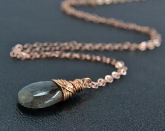 Labradorite Necklace, 14K Rose Gold Filled, Natural Stone, Blue Flash, Handmade