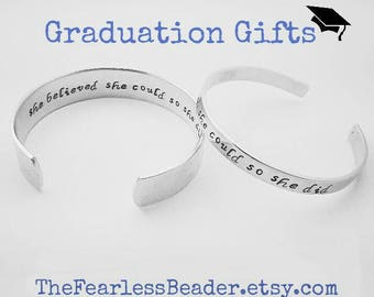 She Believed She Could So She Did Bracelet,  Graduation Bracelet, Graduation Gift for Her, Handstamped Bracelet, Graduation Jewelry, Grads