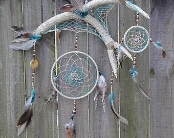 Deer Antler Dream Catcher, Natural Dreamcatcher, Native America Inspired Dream Catcher, Rustic Wall Hanging, Rustic Dreamcatcher,