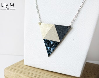 Leather Triangle Necklace, Night Blue and Gold ANA, Lily.M