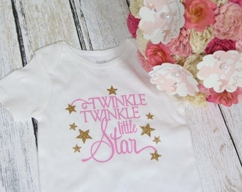 Pink and Gold Twinkle Twinkle Little Star  Bodysuit or T Shirt Great for Birthdays or Parties