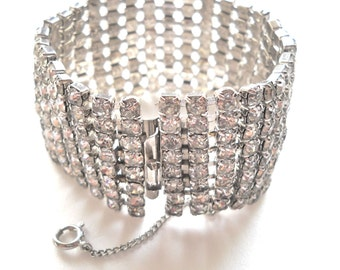 Vintage RHINESTONE HOLLYWOOD GLAM Eight Rows Wide High End  Bracelet 1950s Runway Bridal Wedding