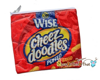 Wise Cheez Doodle Upcycled Change Purse, Puffed Cheese Corn Snacks, Recycled Chips Coin Purse, Potato Chips Wallet, Zippered Pouch, Crisps