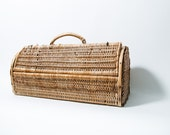 Wicker and Bamboo Woven Basket Rectangular Round Top 1970s