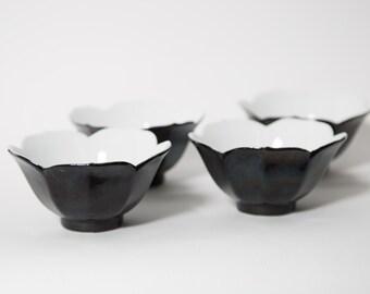 Retro Lotus Flower Ice Cream Cups Black Ceramic Bowls