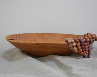 Untreated primitive hand carved wood bowl