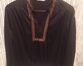 Vintage Black and Gold Tunic Top