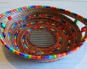 Rainbow Basket Pine Needle Basket Storage Basket Pine Coiled Basket Native American Basket One Of A Kind Basket For Him Basket For Her