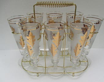 Vintage Libbey Gold Foliage Pattern - Frosted Pilsner Glasses  - Set of 8 with Brass Carrier - Shipping Included
