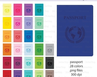 Passport Clipart 28 colors, PNG Digital Clipart - Instant download