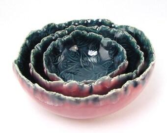 Set of 3 Nested Bowls, Pink and Blue Prep Bowls, Decorative Dishes, Hors D'oeuvre Set, Appetizer Dishes, Leaf design, Natural Edged 09-16-80