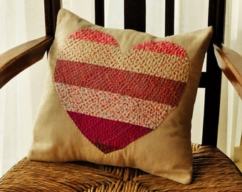 Beautiful Patchwork, Hand-Embroidered, Heart Cushion #3