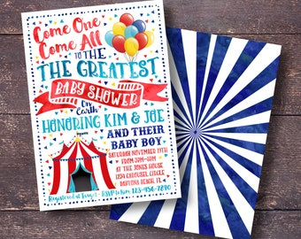 Carnival Baby Shower Invitation, Circus Baby Shower Invitation, Carnival Baby Shower, Circus Baby Shower, Carnival Shower Invitation