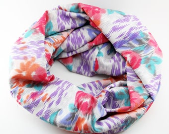 Beautiful Bright Multicolored Floral Infinity Scarf