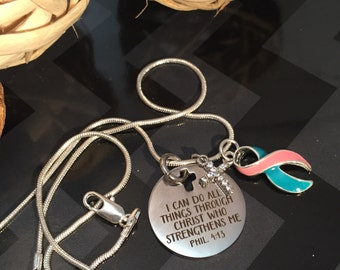 Teal & Pink Ribbon Charm Necklace - Thyroid Cancer Awareness - I Can Do Anything through Him Pendant / Previvor Awareness / BRCA Positive