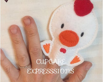 Rooster Finger Puppet - Quiet Time Play Toy - Imaginative Play - Farm Animal - Can Choose Custom Colors