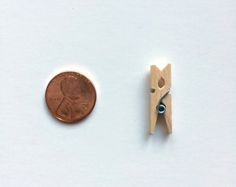 TINY WOODEN CLOTHESPIN - A set of mini one inch long craft pins for thread saving or attaching stuff to other stuff