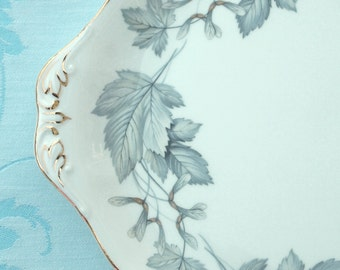 "Cake Plate Royal Albert Fine Bone China ""Silver Maple"" Maple Leaves Serving Plate Pastry Plate  