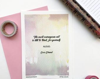 Coco Chanel Mini Print Motivational Quote Notecard