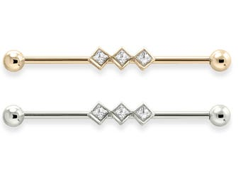 Straight Barbell With 3 Square Bezeled Set Gems