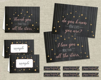 Twinkle Twinkle Little Star Printable Party Pack – Including Thank You Card, Poster, Cupcake Flags, and Food Tents