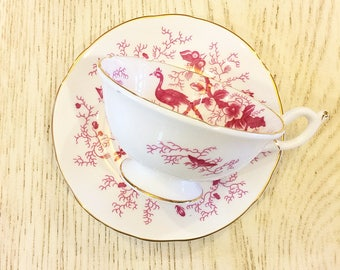 Vintage Tea Cup /  Floral - Bird - Gold Trim ~ Pink-Red Antique Tea cup / Made in England~ Cup & Saucer -  Bone China / Coalport /Bridal Tea
