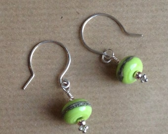 Green Earrings, Light Green lampwork bead earrings, Green lampwork earrings, Green dangle earrings, Green drop earrings