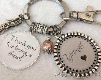 Personalized FRIEND key chain, Best Friend, Pendant, Necklace, Key ring, Keepsake, Friend keychain, Thank you for being a friend, M32