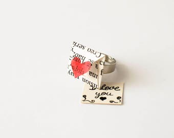 Book Paper Ring - Miniature Envelope Ring with Personalised Message - Ring with Personalised Message