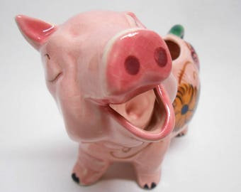 RESERVED For Mary - Adorable Pink Pig Creamer Floral Detail Made in Japan Vintage
