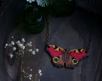 Vintage Laser Wood Cut Moth Illustration Necklace