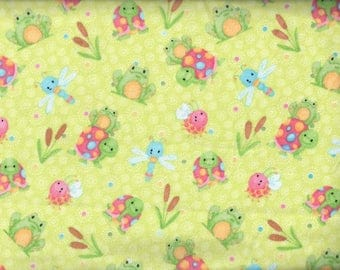 Cuddle Bugs Frogs Turtles Flannel Fabric - green - Shelly Comiskey Henry Glass - by the continuous YARD