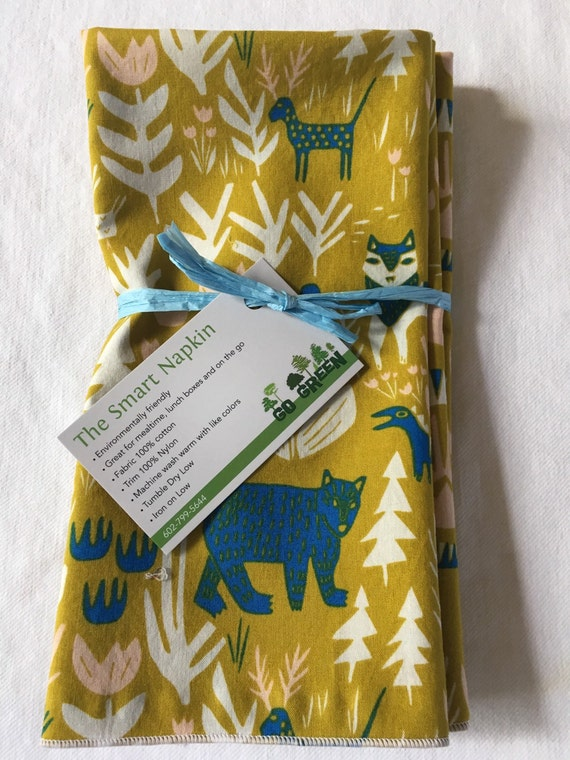 Organic Cotton Forest Animal Gold Dinner All Cotton Cloth 18x18 Napkin by Smartkin