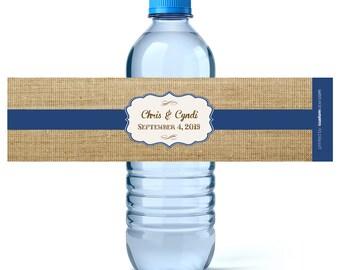 Rustic Wedding Water Bottle Labels - Wedding Water Labels - Burlap Water Labels - Country Wedding - Wedding Favors - Custom Water Bottles