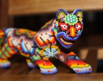 Big Mexican Huichol Beaded Resin Jaguar Animal #3