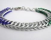 Silver Genderqueer Bracelet – LGBT Pride Half Persian Bracelet - Nickel Free Chain Bracelet for Men and Women - Handmade Chainmail