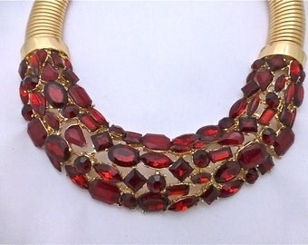 "Garnet Crystal and ""Gold"" Necklace"