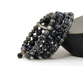 Gray and Black Natural Stone Bracelet - Black Layered Gemstone Memory Wire Bracelet - Snowflake Obsidian
