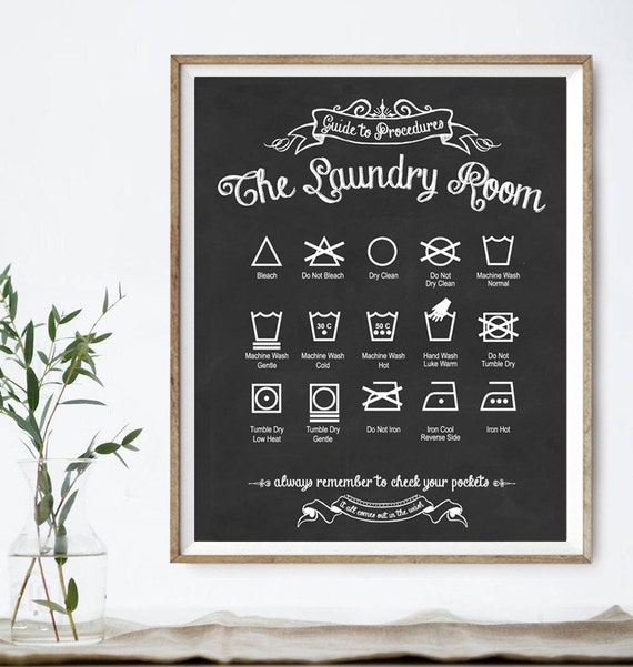 Original Guide to Procedures: The Laundry Room print - 56 COLORS - Laundry, Symbols, Rules, Sign, Vintage, Decor, Art, Wall, Chalkboard