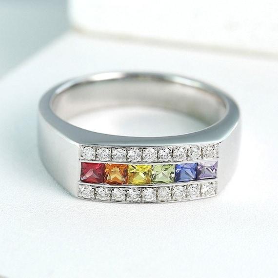 lgbt pride engagement ring wedding band 14k white