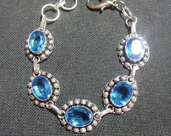 Blue Topaz Crystal Bracelet, Crystal Bracelet, Gemstone Bracelet, Crystal Charm Bracelet, Topaz Bracelet