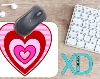 Heart Layer Mouse Pad, Heart Layer Mousepad, Love Rectangle Mouse Pad, Pink, Red, Love Circle Mouse Pad, Heart Layer Mat, Computer, Sweet