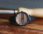 Wood Watch, Personalized Watch, Sandalwood with Black Casing and Black Leather Strap - HELM-SB