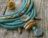 Silk necklace Spirit of River, Textile fabric bead, Water green blue beige, Nacre Ceramic Gemstone, African style, Organic ethnic necklace