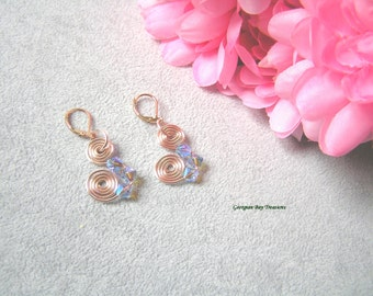 Gorgeous sapphire blue and rose gold, spiral dangle earrings, Swarovski and rose gold wire, AB sapphire, handmade, gift under 20, GBT234