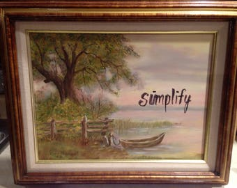 Framed 1980s Original Painting Lakeside Landscape Simplify Inspirational Home Decor Wall Hanging Fine Art