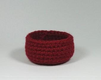 Crochet Basket Red Small / Housewarming Gift