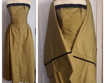 Vtg 50s Strapless Formal Brogan and Jennings Striped with Wrap