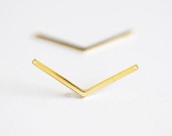 Skinny V Charm Vermeil Gold Connector - 2pcs chevron V charm, skinny gold bar, obtuse angle connector, check mark, 18k gold over 925 silver