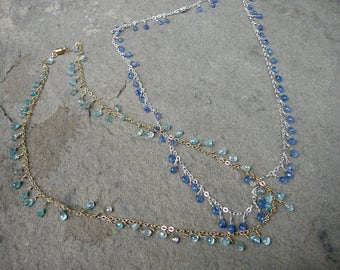 Briolette Necklace,Delicate Necklace,Briolettes,Blue Zircon Jewelry,Zircon Necklace,Blue Briolette Necklace,Gemstone Necklace,Zircon Gems